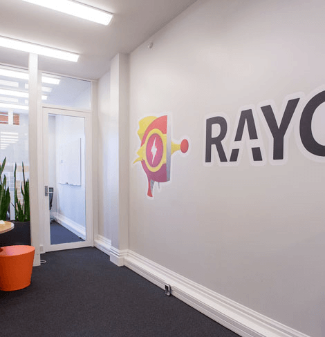 Raygun logo on office wall
