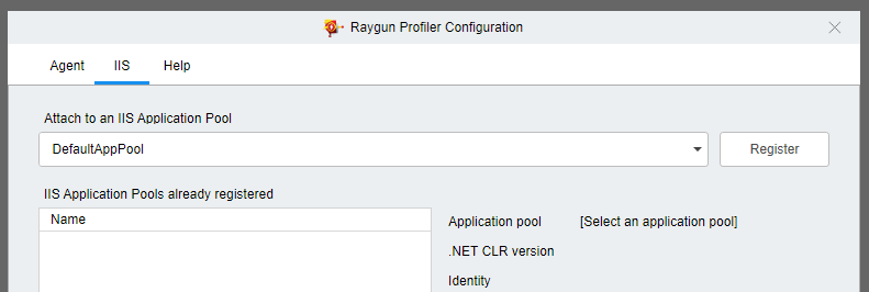 Raygun Profiler Configuration: Attach to IIS app pool.