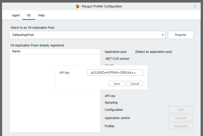 Raygun Profiler Configuration: enter API key for app pool.