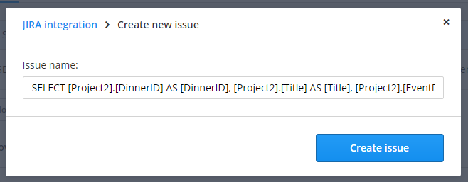 Create new issue: default.