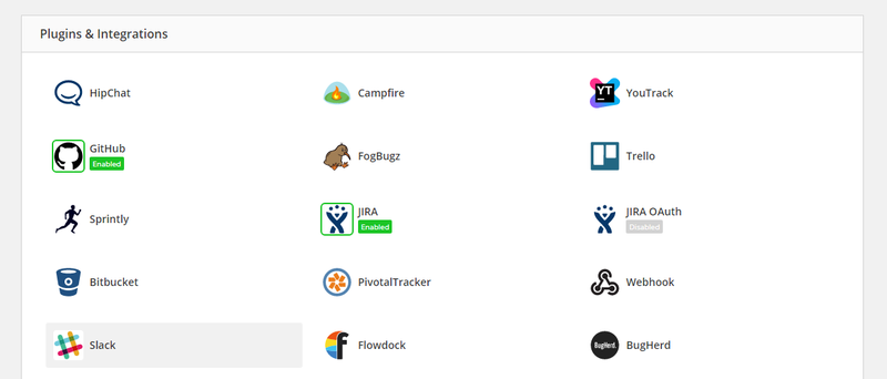 Integrations page with Slack highlighted