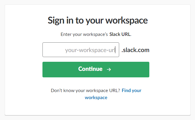 Sign in to your workspace