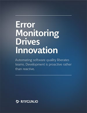 Front page of the EBook Error Monitoring Drives Innovation