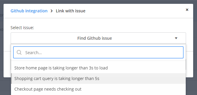 Link with issue dropdown populated